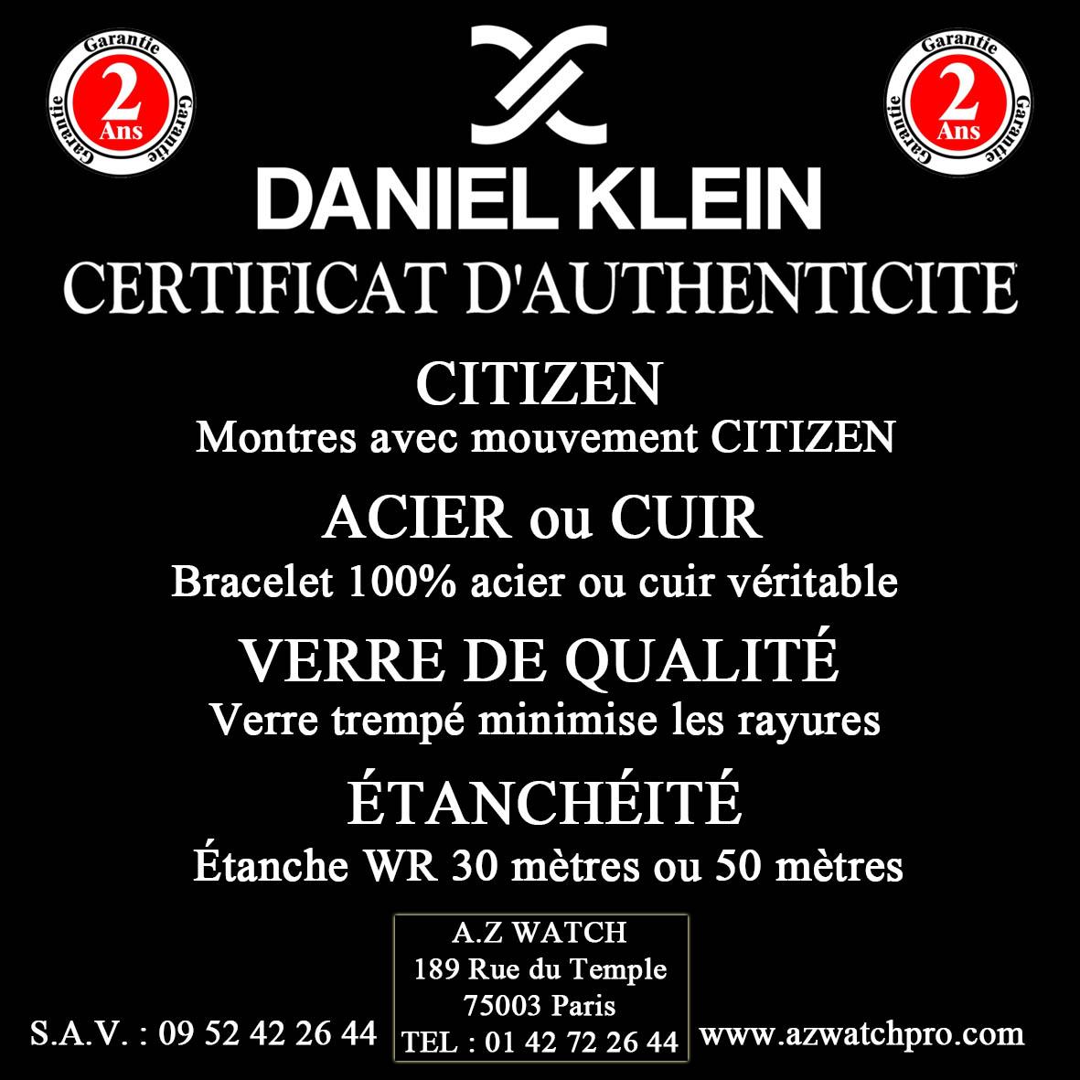 Caractéristiques des montres DANIEL KLEIN