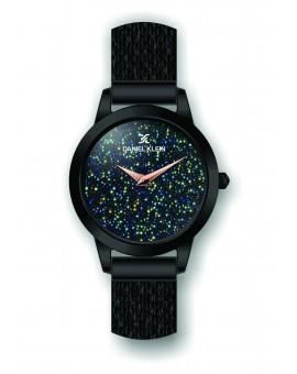 Montre Daniel Klein Femme bracelet milanais noir fond bleu