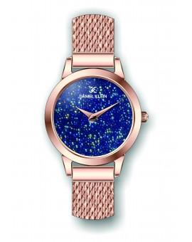 Montre Daniel Klein Femme bracelet milanais couleur or rose fond bleu