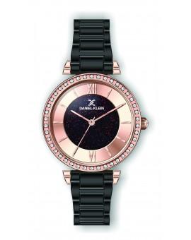 Montre Daniel Klein Femme bracelet acier noir fond or rose