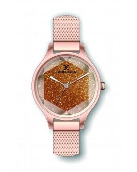 Montre Daniel Klein Femme bracelet milanais couleur or rose fond or rose