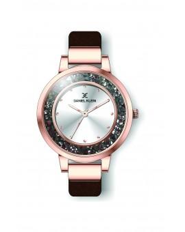 Montre Daniel Klein Femme bracelet cuir praline fond argent