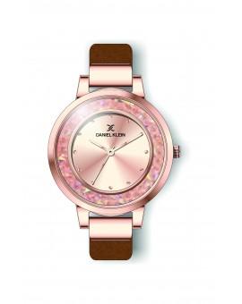 Montre Daniel Klein Femme bracelet cuir marron fond or rose