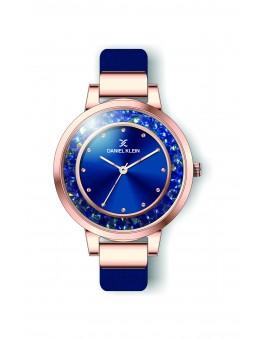 Montre Daniel Klein Femme bracelet cuir bleu fond bleu
