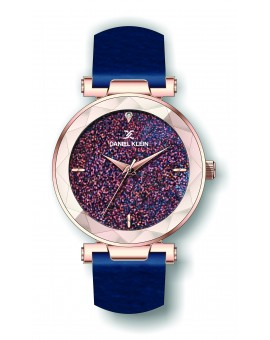 Montre Daniel Klein Femme bracelet cuir bleu fond or rose