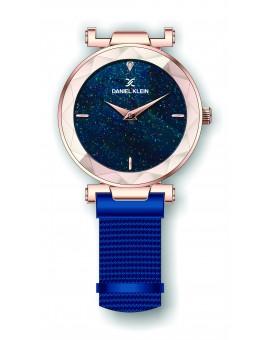 Montre Daniel Klein Femme bracelet magnetique noir fond bleu