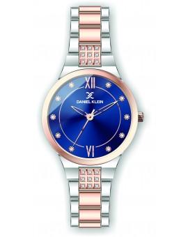 Montre Daniel Klein Femme bracelet acier couleur or rose fond bleu