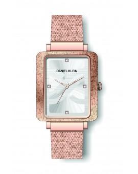 Montre Daniel Klein Femme bracelet milanais couleur or rose fond argent
