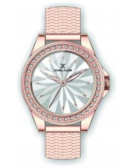 Montre Daniel Klein Femme bracelet acier couleur or rose fond argent