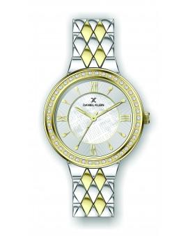Montre Daniel Klein Femme bracelet acier bicolor fond argent