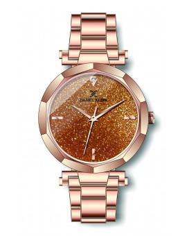 Montre Daniel Klein Femme bracelet acier couleur or rose fond or rose