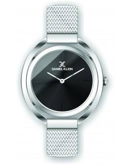 Montre Daniel Klein Femme bracelet milanais argenté fond noir