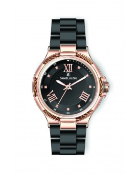 Montre Daniel Klein Femme bracelet acier noir fond noir