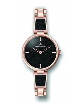 Montre Daniel Klein Femme bracelet acier couleur or rose fond noir