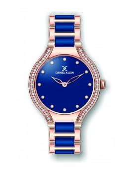 Montre Daniel Klein Femme bracelet acier et résine bleu fond bleu