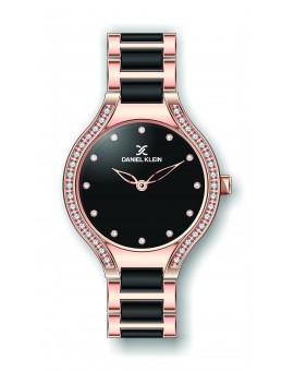 Montre Daniel Klein Femme bracelet acier et résine noir fond noir
