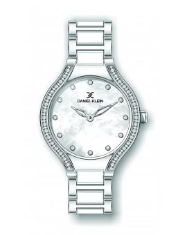 Montre Daniel Klein Femme bracelet acier et résine argenté fond argent