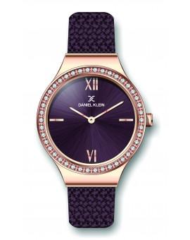 Montre Daniel Klein Femme bracelet milanaisprune fond prune