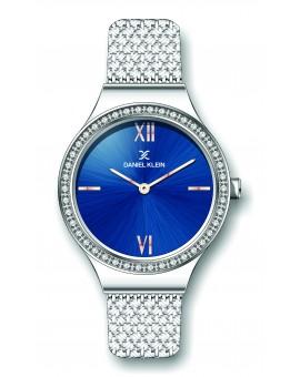 Montre Daniel Klein Femme bracelet milanais argenté fond bleu