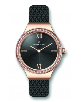 Montre Daniel Klein Femme bracelet milanais noir fond noir