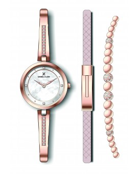 Coffret Daniel Klein Femme bracelet acier couleur or rose fond argent