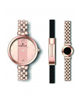 Coffret Daniel Klein Femme bracelet acier couleur or rose fond or rose