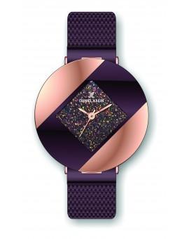 Montre Daniel Klein Femme bracelet milanais marron fond violet
