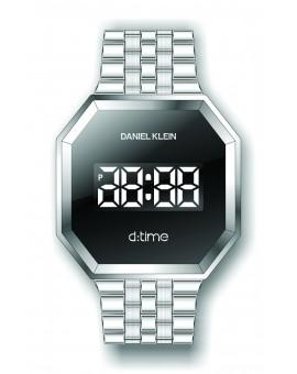 Montre Daniel Klein Homme D-TIME bracelet acier argenté fond noir