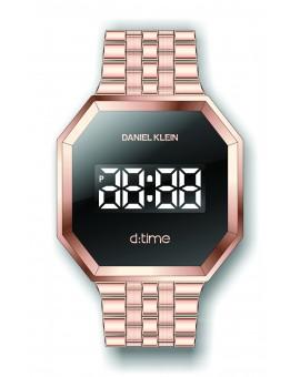 Montre Daniel Klein Homme D-TIME bracelet acier couleur or rose fond noir