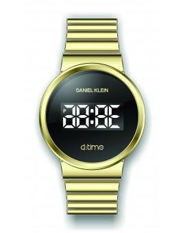 Montre Daniel Klein Homme D-TIME bracelet acier doré fond noir