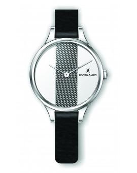 Montre Daniel Klein Femme bracelet cuir noir fond argent