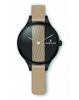 Montre Daniel Klein Femme bracelet cuir beige fond noir