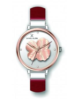 Montre Daniel Klein Femme bracelet cuir rose fond argent