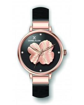 Montre Daniel Klein Femme bracelet cuir noir fond noir