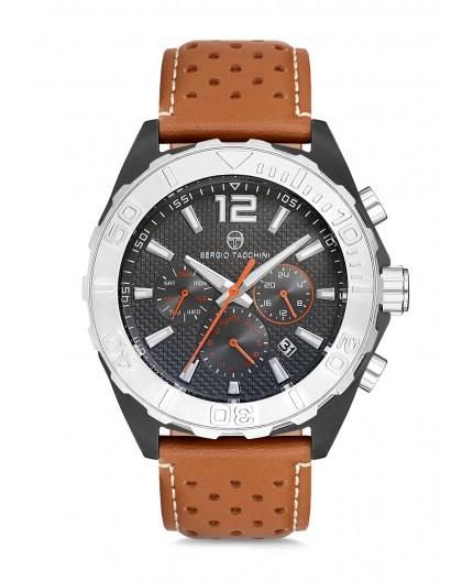 Montre Sergio Tacchini homme bracelet cuir marron