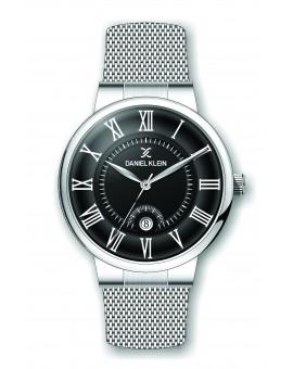 Montre Daniel Klein Homme bracelet milanais argenté fond noir