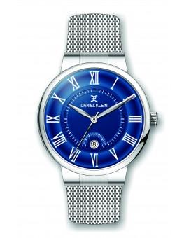 Montre Daniel Klein Homme bracelet milanais argenté fond bleu