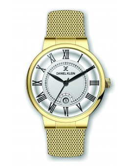 Montre Daniel Klein Homme bracelet milanais doré fond argent