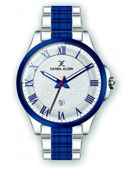 Montre Daniel Klein Homme bracelet acier bleu fond argent