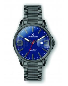Montre Daniel Klein Homme bracelet acier gris fond bleu