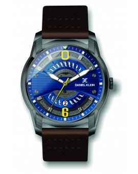 Montre Daniel Klein Homme bracelet cuir marron fond bleu