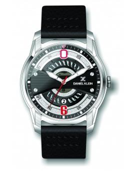 Montre Daniel Klein Homme bracelet cuir noir fond argent