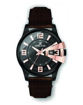 Montre Daniel Klein Homme bracelet cuir marron fond noir