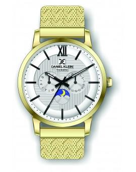 Montre Daniel Klein Homme exclusive bracelet milanais doré fond argent