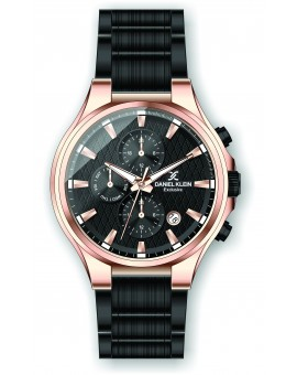 Montre Daniel Klein Homme exclusive bracelet acier noir fond noir