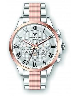 Montre Daniel Klein Homme exclusive bracelet acier couleur or rose fond argent