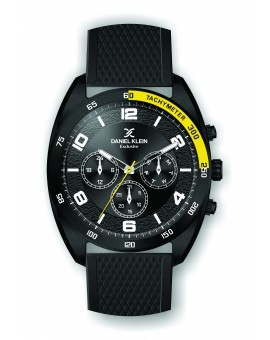 Montre Daniel Klein Homme exclusive bracelet silicone noir fond noir