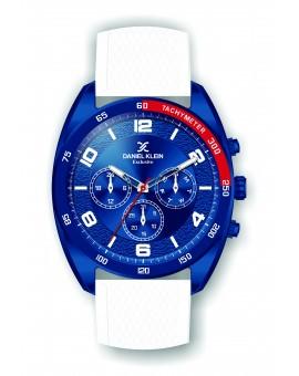 Montre Daniel Klein Homme exclusive bracelet silicone blanc fond bleu