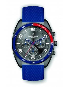 Montre Daniel Klein Homme exclusive bracelet silicone bleu fond gris