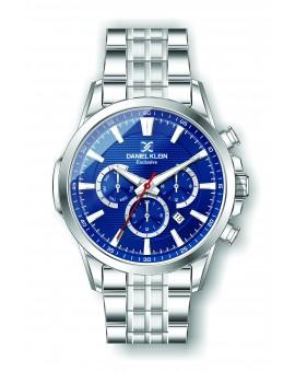 Montre Daniel Klein Homme exclusive bracelet acier argenté fond bleu